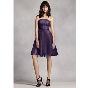 Vera Wang short Strapless Tulle over Lace Dress